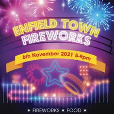 poster or flyer advertising event Firework display in Enfield Town Park