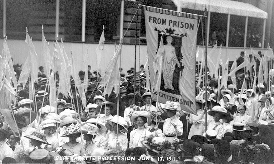 The 'From Prison to Citizenship' banner on the Women's Coronation Procession, 17 June 1911.