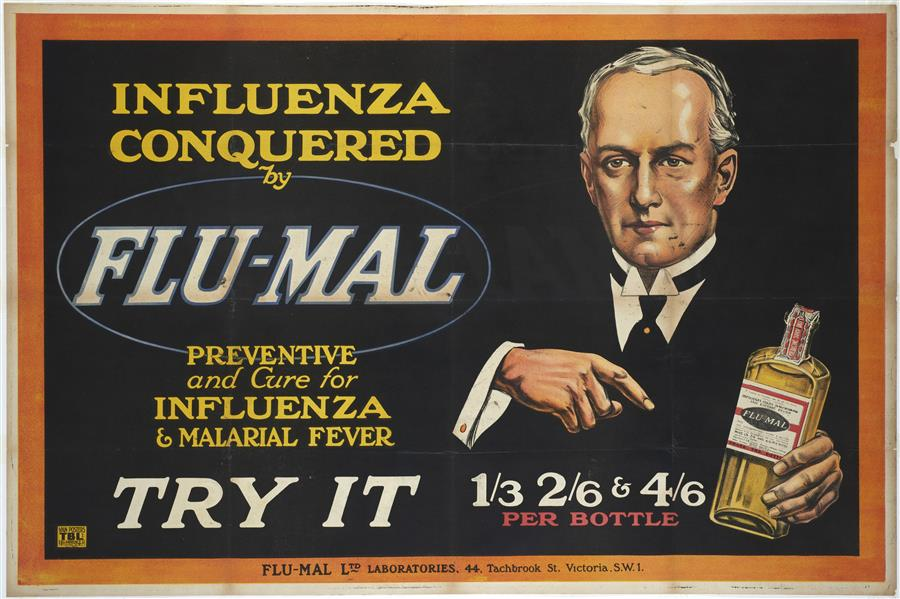 Poster advertising patent remedy which claimed to cure flu and malaria.