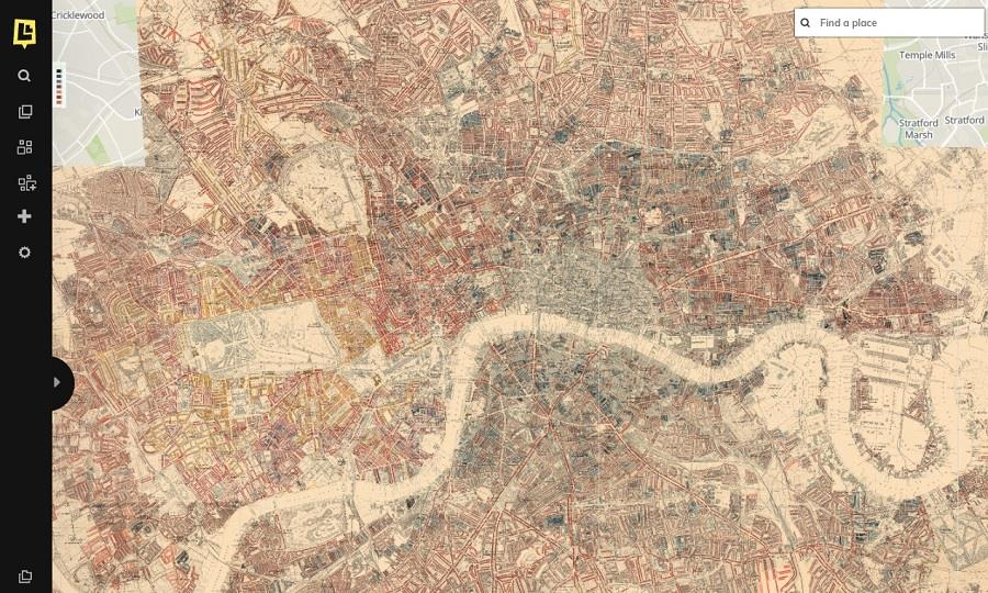 Layering historic maps on top of each other, users can discover how areas and streets have changed throughout time.