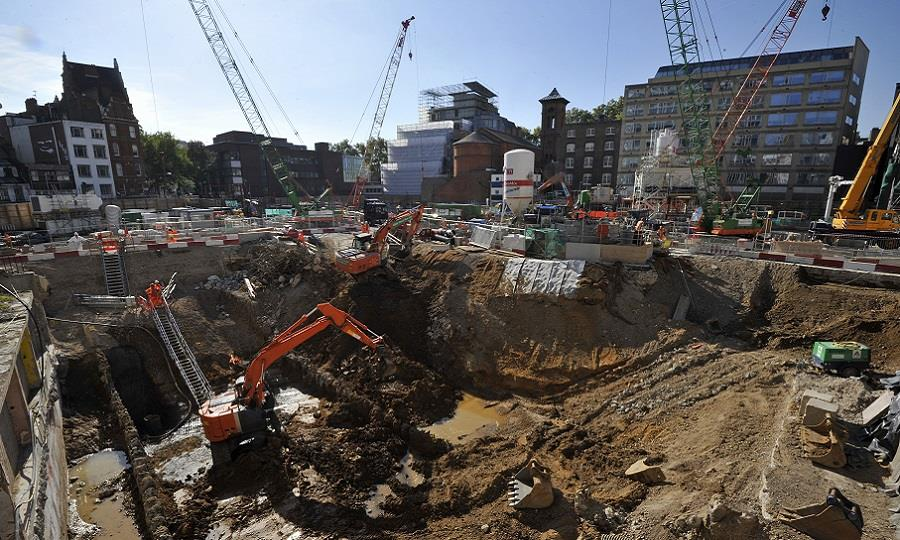 View across Crossrail building work at Charing Cross Road, by John Chase