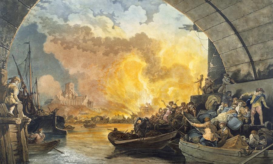 Aquatints, Great Fire of London, Prints etchings lithograph & mezzotints, River Thames