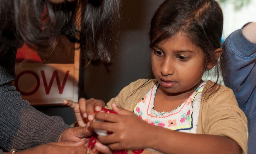 Child absorbed in craft activity
