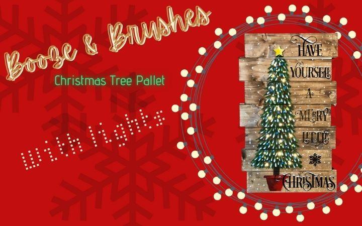 Booze & Brushes - Christmas Tree Wood Pallet image