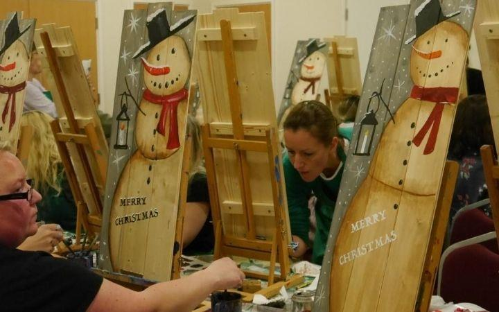 Booze & Brushes - Snowman Pallet Painting