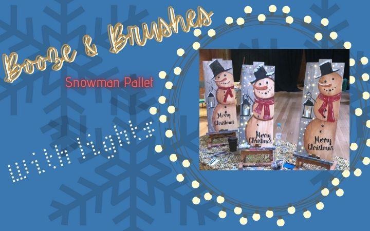 Booze & Brushes - Christmas Snowman Wood Pallet image